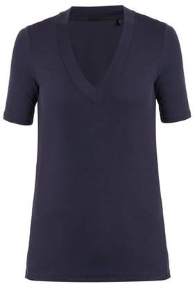 Atm - V Neck Ribbed Knit T Shirt - Womens - Navy
