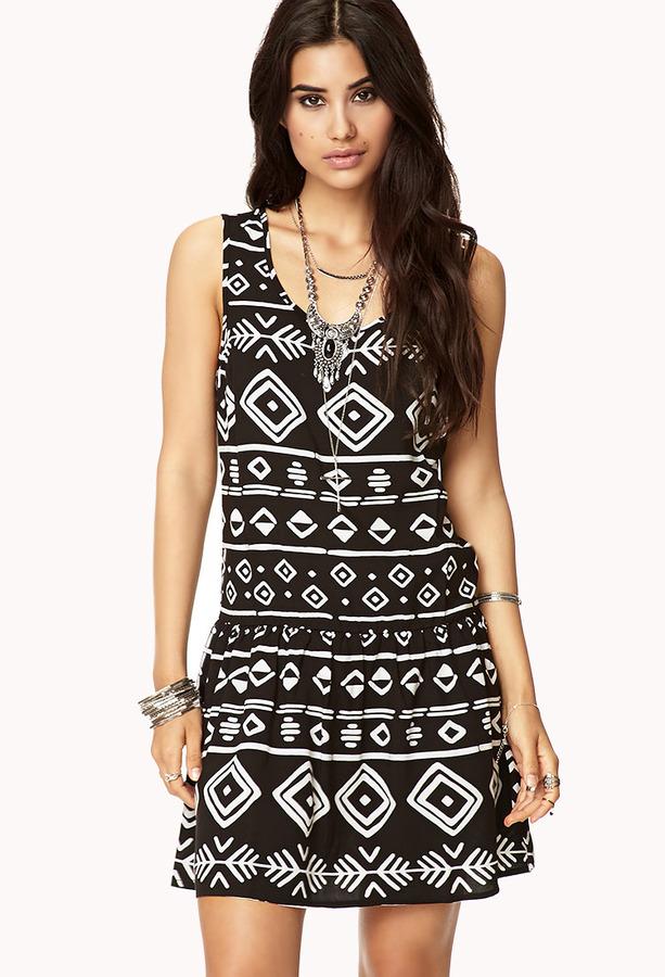 Forever 21 Tribal-Inspired Drop Waist Dress