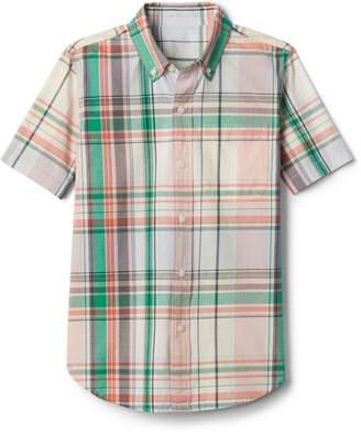 Gap Plaid Short Sleeve Shirt in Poplin