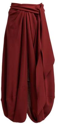 Jacquemus Souela Belted Draped Wool Skirt - Womens - Burgundy