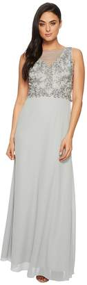 Adrianna Papell Sleeveless Beaded Bodice Gown with Sheer V-Neck Line Women's Dress