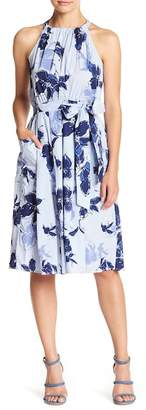 Gabby Skye Sleeveless Floral Stripe Waist Belt Dress
