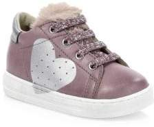 Naturino Baby's& Kid's Falcotto Heart Faux-Fur Trimmed Sneakers