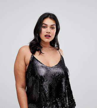 Outrageous Fortune Plus sequin cami top in black