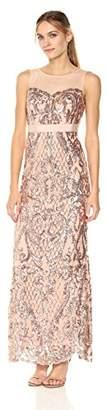 Adrianna Papell Women's Sequin Mermaid Dress with Illusion Neckline