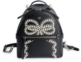 Fendi Ribbon and Pearls Mini Leather Backpack