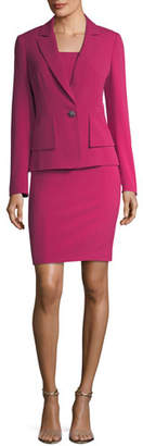 Albert Nipon One-Button Crepe Jacket & Sheath Dress Set