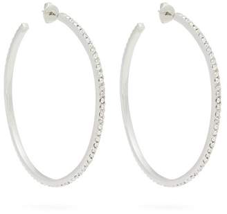 Com Isabel Marant Crystal Embellished Hoop Earrings Womens Silver
