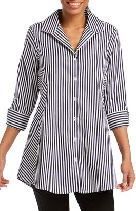 Foxcroft Cecilia Stripe Cotton Sateen Tunic Blouse