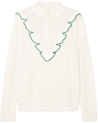 Tory Sport Ruffled Cashmere And Coolmax-blend Sweater - White