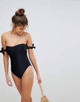 Asos Fuller Bust Bardot Bunny Tie Swimsuit