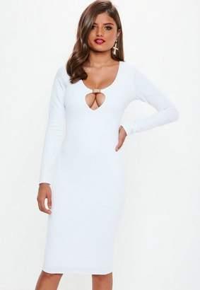 Missguided White Long Sleeve Buckle Midi Dress