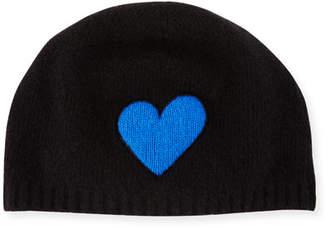 Portolano Cashmere Heart Beanie Hat, Black/Blue
