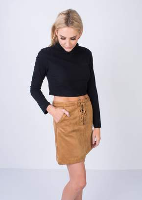 7dc9037b672 Missy Empire SP Tan Suede Lace Up Mini Skirt