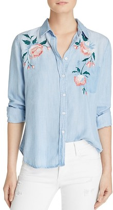 Rails Chandler Floral-Embroidered Chambray Shirt $188 thestylecure.com