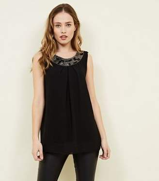 Yumi Black Bead Embellished Neckline Top