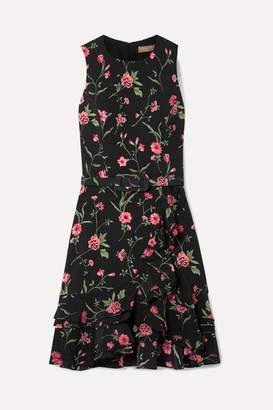 Michael Kors Belted Ruffled Floral-print Crepe Mini Dress - Black