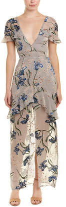 For Love & Lemons Cleo Silk-Blend Maxi Dress