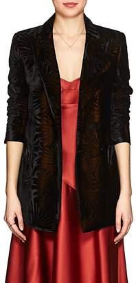 BLAZÉ MILANO Women's Everyday Floral Velvet Double-Breasted Blazer