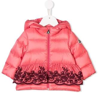 Moncler embroidered hooded padded jacket