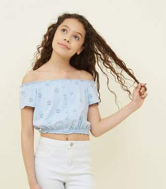 New Look Girls Pale Blue Broderie Button Front Bardot Top