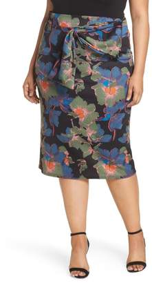 LOST INK Ivy Floral Bow Detail Pencil Skirt