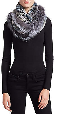 The Fur Salon Women's Knitted Rabbit & Fox Infinity Scarf