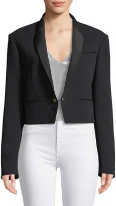 Roberto Cavalli Cropped One-Button Blazer Jacket