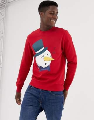 Jack and Jones Originals Holidays Sweatshirt With Snowman Print