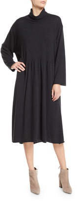 eskandar Scrunch-Neck Long-Sleeve A-line Cashmere Dress