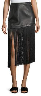 Helmut Lang A-Line Leather Mini Skirt with Long Fringe Hem