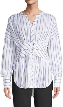 Lumie Corset-Detail Striped Blouse