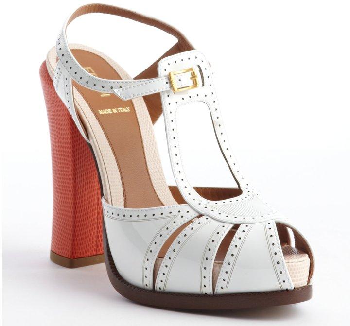 Fendi White And Orange Leather Perforated Detail Bucklestrap Platform Peep Toe Sandals