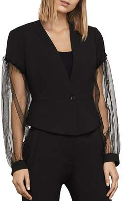 BCBGMAXAZRIA Sandi Tulle-Sleeve Blazer