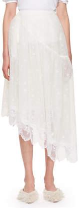Simone Rocha Asymmetric Petal Lace Midi Skirt
