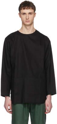 Phoebe English Black Linen Split Shoulder Smock Shirt