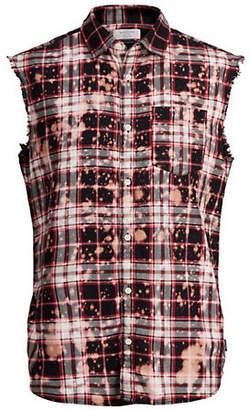 Jack and Jones Sleeveless Plaid Cotton Shirt