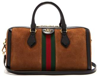 Gucci Ophidia Medium Top Handle Suede Bag - Womens - Black Tan