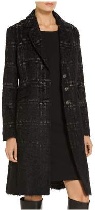 St. John Degrade Brushed Plaid Mohair Wool Blend Jacket