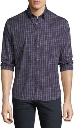 Neiman Marcus Regular-Fit Wear-It-Out Plaid Sport Shirt, Navy