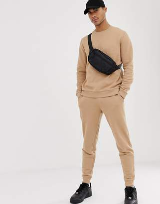 BEIGE Asos Design ASOS DESIGN tracksuit with tapered sweatpants in