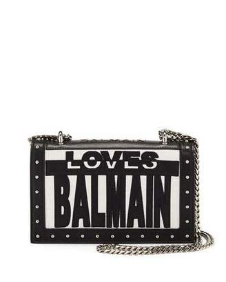 Balmain Love Flap Shoulder Bag, Black/White
