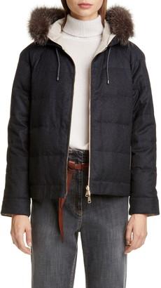 Brunello Cucinelli Hooded Reversible Jacket with Genuine Fox Fur Trim