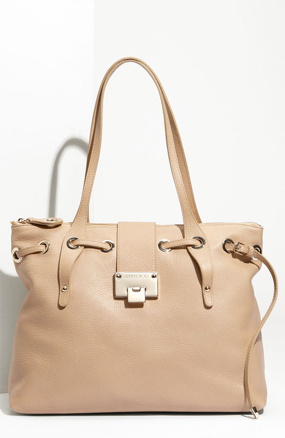 Jimmy Choo 'Rhea - Medium' Calfskin Leather Shopper