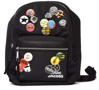 Marc Jacobs Treck Pack Medium Black Backpack With Pins