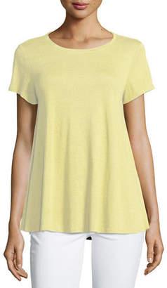 Eileen Fisher Short-Sleeve Organic Linen Jersey Tee, Plus Size
