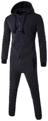 DOKER One Piece Men's Onesie Pajama Non Footed Zip Up Adult With Hoodie Jumpsuit Playsuit XL