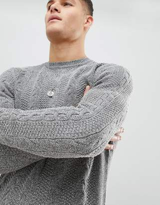 MANGO Man Cable Knit Sweater In Gray