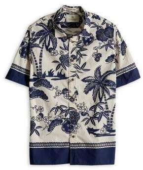 Scotch & Soda Placement Print Short Sleeve Sport Shirt