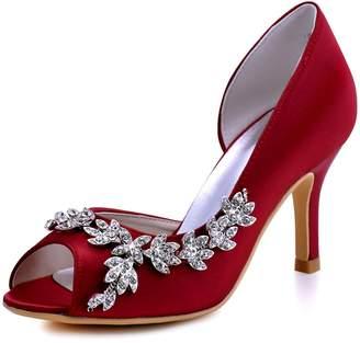 Elegantpark HP1542 Women Peep Toe Rhinestones Pumps High Heel Satin Wedding Bridal Dress Shoes US 8